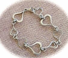 SILPADA B1701 Hammered Textured Sterling Silver SPREAD THE LOVE Heart Bracelet