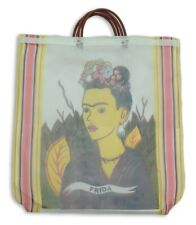 Frida Kahlo Mexican Mesh Market Tote White Reusable Grocery Recycled Bag Kitchen