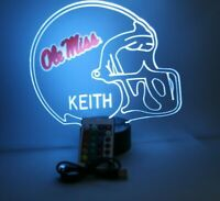 Ole Miss Rebels Football LED Sports Fan Light Table Lamp Personalized and Remote