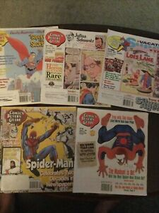 5 Issues Comics Buyer's Guide, VG, Superman & Spiderman Covers, 1997-98,2000