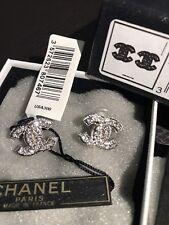 Authen CHANEL Silver CC Logo RARE Strass Pave Swarovski Crystals Studs Earrings