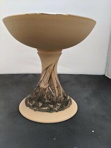 "Decorative Ceramic Pedestal Sweet/Fruit Bowl gilded modern 8 2/8"" textured #SH"