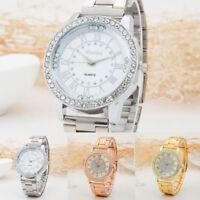 Ladies Women Girl Stainless Steel Band Bracelet Crystal Dial Quartz Wrist Watch