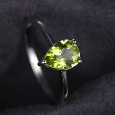 1.3ct Gorgeous 9mm Genuine Pear Peridot Solid Sterling Silver Ring Size 7 Ladies