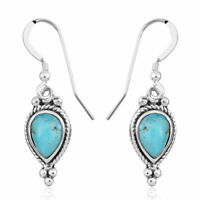 925 Sterling Silver Turquoise Drop Dangle Earrings Southwest Jewelry Gift Ct 1