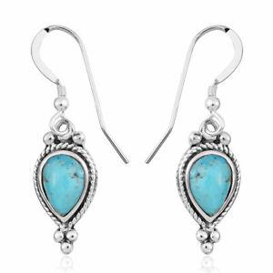 925 Sterling Silver Turquoise Drop Dangle Earrings Southwest Fine Jewelry Ct 1