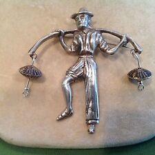 50s Mid Century Sterling MEXICO Village Farmer Worker Pin Brooch 2.5 x 2.5 20 gr