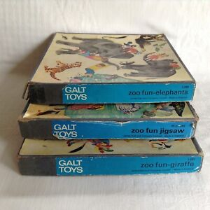 3 x Vintage Galt Toys Wooden Jigsaw Zoo Fun - Elephants, Giraffe, Water Wildlife