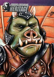🐗 Gamorrean Jabba's Sail Barge Sketch Card Topps Star Wars Heritage Art Drawing