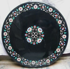 Turquoise Stone Inlaid Patio Sofa Table Marble Coffee Table Home Decor 24 Inches