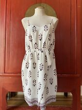 MADEWELL Ivory Silk Sandstar Vine Floral Dress Adjustable Straps, Size 10