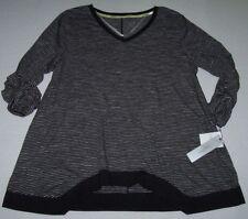 NWT Calvin Klein Performance Black/Gray Stripes FUNKY HEM Tunic Top 2X STRETCH