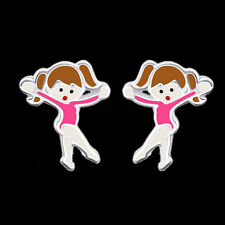 925 Sterling Silver Ballet Dancer Stud Earrings Ballerina Girls Child Gymnastics