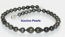 Black Tahitian Pearl necklace 18kt Gold  12 - 8 mm