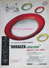PUBLICITE DURALEX SAINT GOBAIN ASSIETTE COULEUR VAISSELLE DE 1961 FRENCH AD PUB