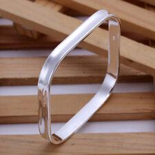 925 Sterling Silver Hallmarked Silver Filled Square Bangle Bracelet BN-A217