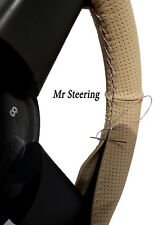 FITS LAND CRUISER 100 BEIGE PERFORATED LEATHER STEERING WHEEL COVER WHITE STITCH