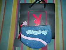 PLAYBOY PURSE BLUE DENIM WILL GIVE BLACK PLAYBOY BUNNY CARRIER GIFT BAG NEW