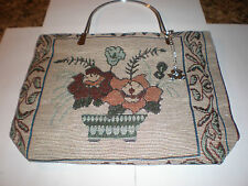 Red and orange flowers in a pot tapestry fabric purse-metal handles w/key chain