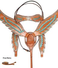 BLUE BLING WESTERN HORSE SHOW LEATHER BRIDLE HEADSTALL FRING BREAST COLLAR TACK