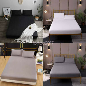 Fitted Sheet Slipcover Protector Stretch Solid Color Dustproof Mattress Cover