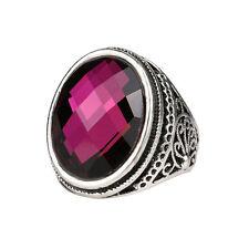 Silver Purple Oval Stone Unisex Men Women Finger Medium size O 17 mm Ring FR278