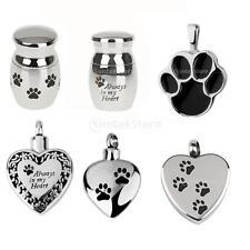 Dog Pet Paw Stainless Steel Cremation Urn Keepsake Memorial Pendant DIY Necklace