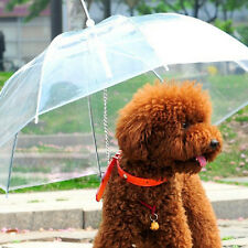 Clear Pet Dog Cat Umbrella With Built-in Leash Portable Puppy Snow Rain Keep Dry