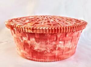 Vintage HOMMER MFG Marbleized Red/Orange Plastic Sewing Basket