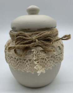 Hand Painted Chalk Paint Glass Jar with Lid Trimmed in Lace & Twine Shabby Chic