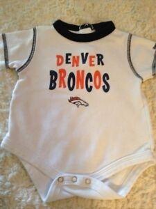 Denver Broncos Football Boys White Orange Blue Short Sleeve One Piece 3-6 Months