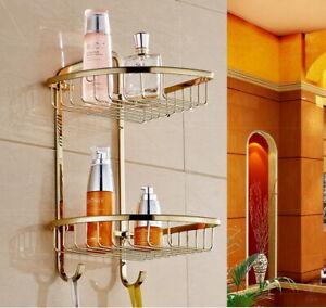 2 Layer Bathroom Golden Brass Shower Caddy Basket Shelf storage & Robe Hook