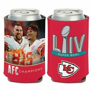 Super Bowl Champions kansas City Chiefs Can Cooler 12 oz Kelce, and Mahomes