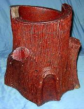 Antique Handmade Sewer Tile Folk Art  Tree Trunk Planter Decoration