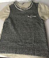 J.Crew Top Size M Med Women's Tweed Lace Short Sleeves  Black Beige Pocket