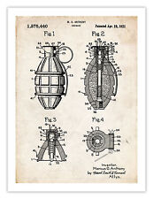 """MILITARY WEAPON HAND GRENADE INVENTION POSTER 1921 US PATENT ART PRINT 18X24"""""""