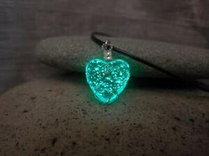 "Zombies 2 Necklace Glowing Werewolf ""Moonstone"" Glow in Dark Wire Wrapped Heart"
