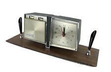 New listing Vintage Westinghouse Clock Radio Combo Wood Base 2 Pen Holders Midcentury