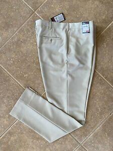 Roundtree & Yorke TravelSmart Microfiber Pants 38 36 Tall Man Flat Front Tan NWT