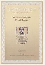 TIMBRE FDC ALLEMAGNE  BERLIN OBL ERSTTAGSBLATT ERNST REUTER  1989