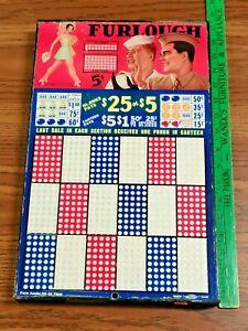 Vintage Gambling Furlough Military Pinup Girl Punch Card Board Display