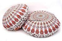 Indien Ottomane Grand Blanc Sol Oreiller Mandala Imprimé Pom Dentelle Pouf 2 PC