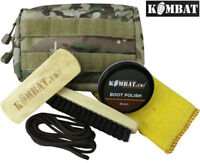 Army Military Molle Boot Cleaning Care Kit Shoe Boot Polish Brush Pouch Delux