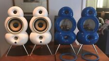 Blue Room Minipod Speakers -- White and Blue Pair