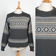 70s / 80'S VINTAGE MENS KNIT JUMPER FAIRISLE PATTERN GREY RETRO MOD CREW NECK S