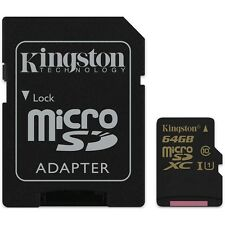 Kingston SDCA10/64GB MicroSDHC Class 10 (SDCA10) 64GB with Adapter, NEW