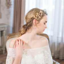 Wedding Handmade  Rhinestone Pearl Hair Pin Clips Elegant Bridal gold  UK