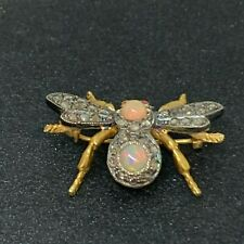 Cut Diamond Bug Brooch/Pin Vintage Opal and Old Rose