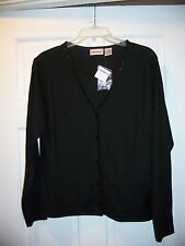 NWT Fashion Bug Black size M Double Front Long Sleeve Sequin Trim Blouse