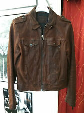 Rare French Chic CHEVIGNON 600€ Women's Leather Vintage Effect Jacket Size M